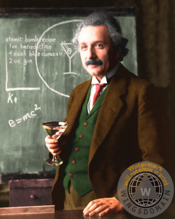 celebrity,celebrities,albert,einstein,albert einstein,funny,fun,satire,spoof,alcohol,atomic bomb,bar,bars,martini,drink,humor,humorous,party,physics,physicist,math,mathematic,mathematics,formula,formulas,equation,equations,science,scientist,scientists,scientific,quantum mechanics,theoretical,newton,scholar,education,educational,academia,people,famous people,portrait,portraits,face,faces,space,time,college,professor,kitsch,kitschy,contemporary,color,cheerful,happy,the,e=mc2,wing tong,wingsdomain