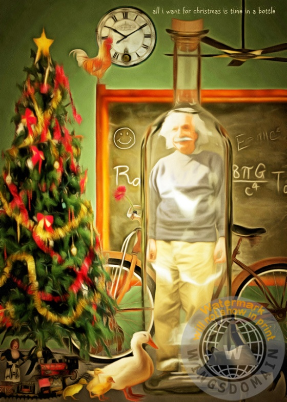 einstein,albert,albert einstein,invention,humor,humorous,humour,fun,funny,happy,surreal,satire,satirical,spoof,christmas,xmas,holiday,card,cards,tree,physics,physicist,math,mathematic,formula,equation,science,scientist,scientific,theoretical,theorist,bottle,bike,bicycle,duck,pig,scholar,education,educational,academia,people,famous people,portrait,face,relativity,genius,time,clock,energy,college,professor,kitsch,kitschy,whimsical,contemporary,colorful,cheerful,the,and,e=mc2,wing tong,wingsdomain