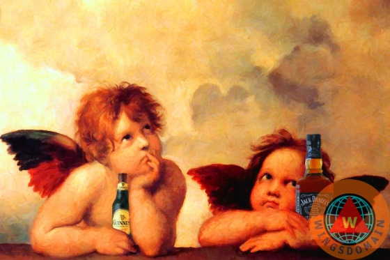 alcohol, and, angel, angels, baby, baby angels, bar, bars, bartender, beer, beverage, catholic, cherub, cherubs, christ, christianity, cistine, classic, classical art, classical period, eclectic, fun, funny, guiness, high renaissance, humor, italian, italy, jack daniels, jesus, masterpiece, modonna, or, paint, painting, paintings, prima donna, primadonna, pub, pubs, raphael sanzio, religion, renaissance, satire, sculptor, sculpture, sistine chapel, spoof, the, the sistine modonna, whimsical, whiskey, wing tong, wings, wingsdomain