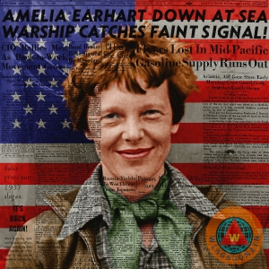 amelia-earhart-american-aviation-pioneer-colorized-20170525a-square-with-newspaper-and-american-flag-wingsdomain-art-and-photography